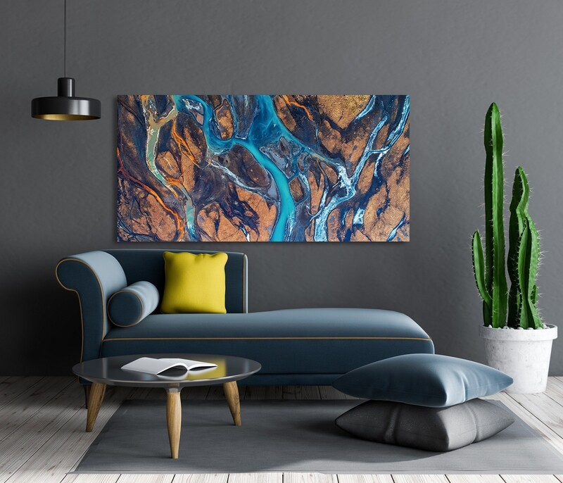 River In Iceland  - Modern Luxury Wall art Printed on Acrylic Glass - Frameless and Ready to Hang