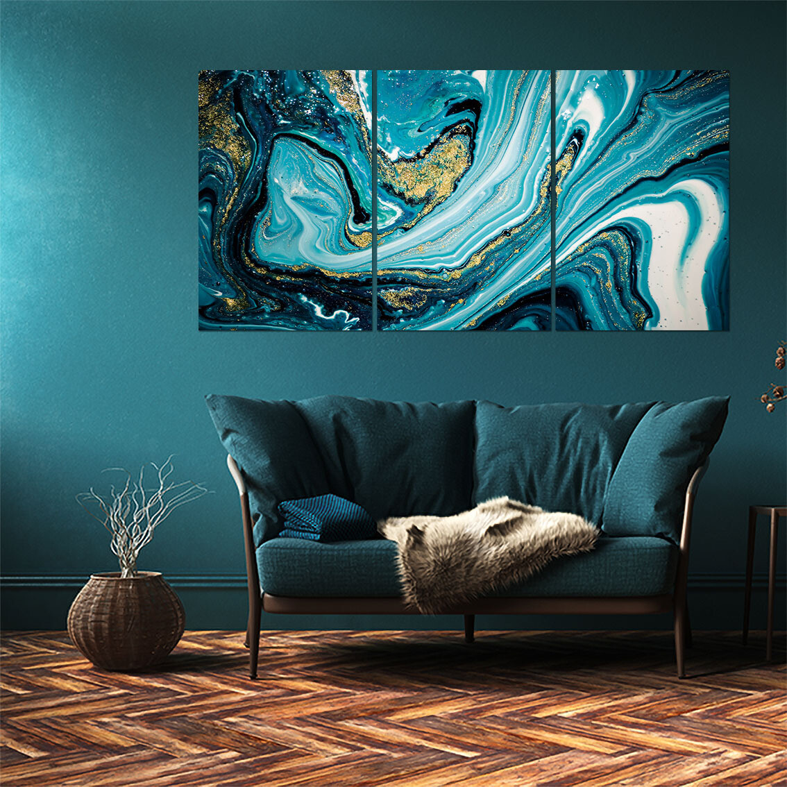 Fluid Art Blue  - Modern Luxury Wall art Printed on Acrylic Glass - Frameless and Ready to Hang