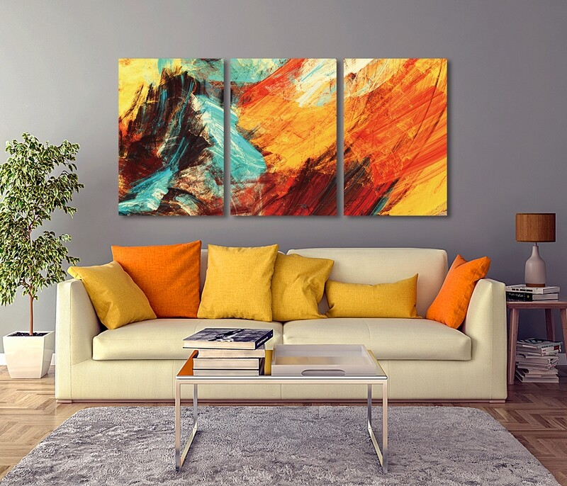 Bright Artistic Splashes - Modern Luxury Wall art Printed on Acrylic Glass - Frameless and Ready to Hang