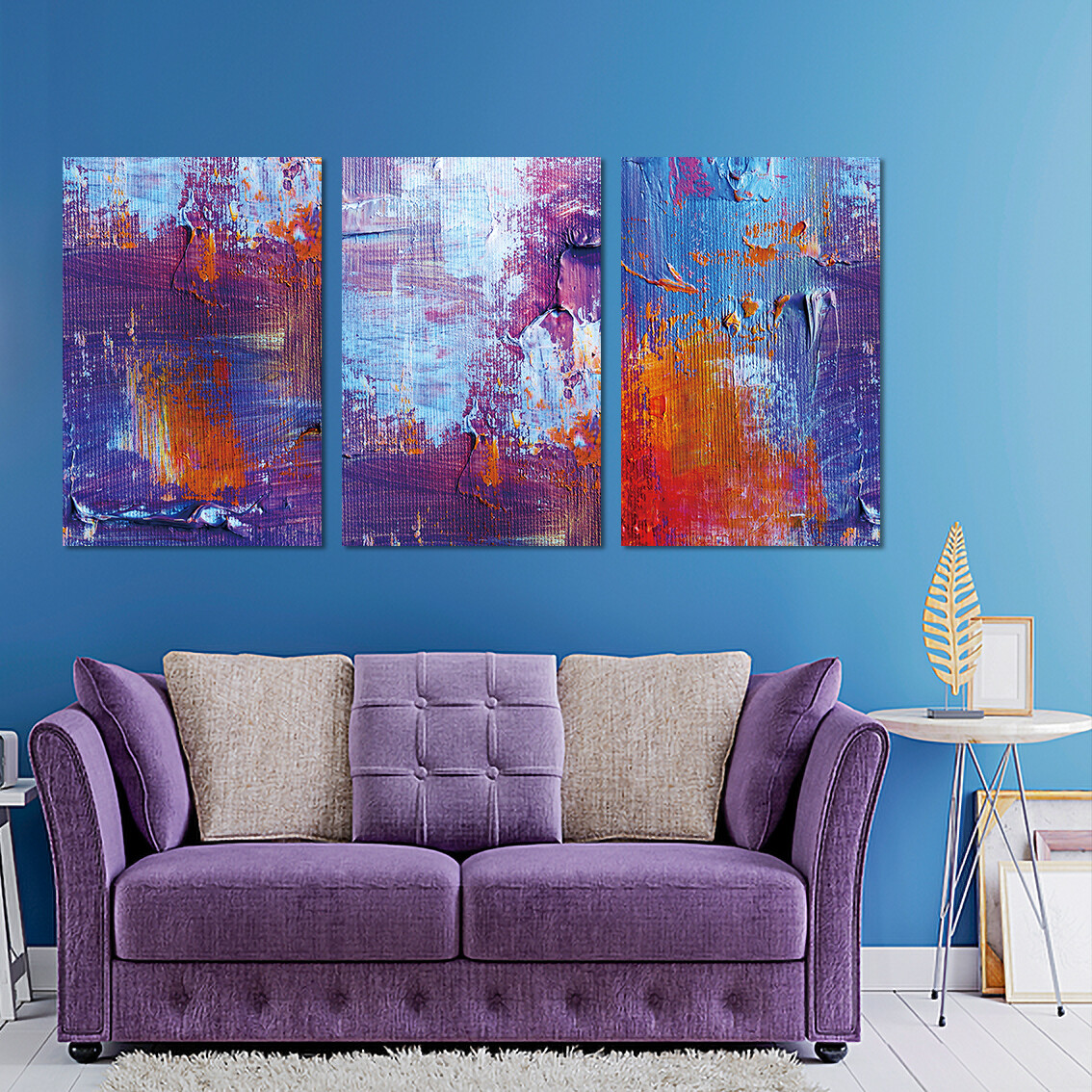 Colour Texture Abstract  - Modern Luxury Wall art Printed on Acrylic Glass - Frameless and Ready to Hang