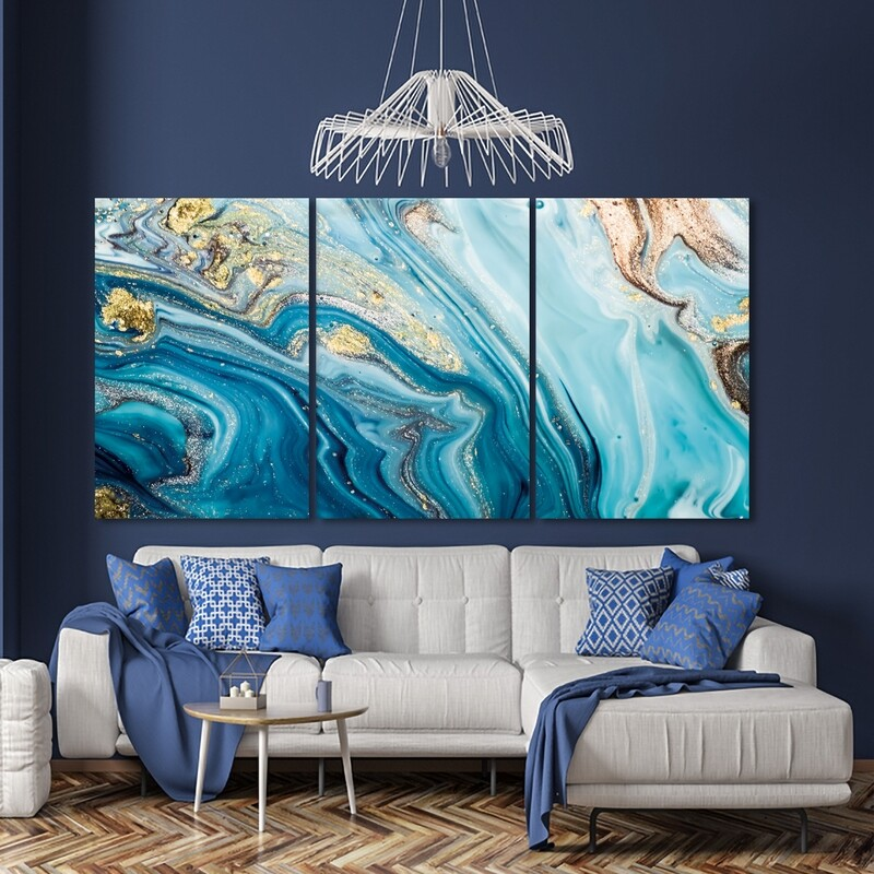 Fluid Art Blue And Gold  - Modern Luxury Wall art Printed on Acrylic Glass - Frameless and Ready to Hang