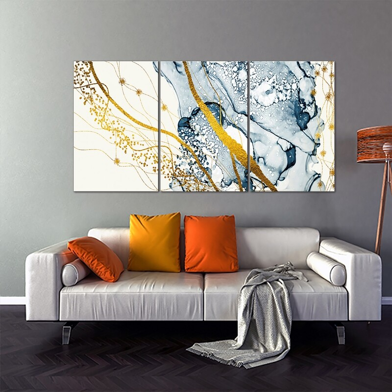 Abstract Painting White Blue and Gold Pattern | Frameless Painting Printed on Acrylic Glass | With Aluminium Backing Frame Ready to Hang