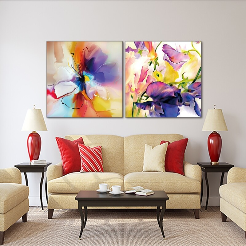 Abstract Blue and Violet Flower | Frameless Painting Printed on Acrylic Glass | With Aluminium Backing Frame Ready to Hang