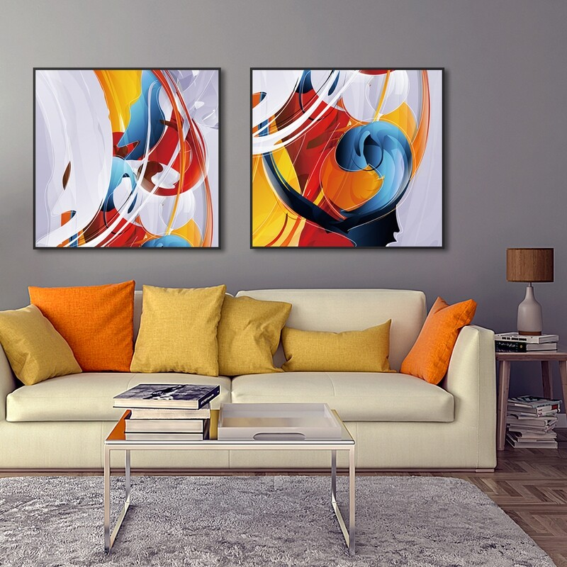 Abstract Graffiti 2 Panel Painting on Acrylic Glass | Framed and Ready to Hang.