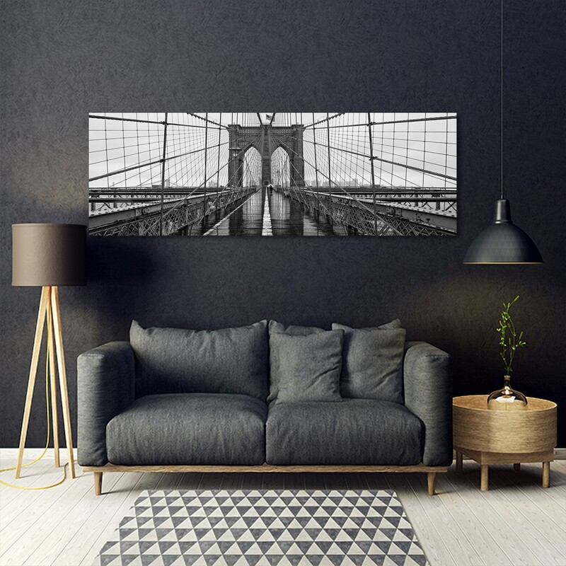Brooklyn Bridge Black and White - Modern Luxury Wall art Printed on Acrylic Glass - Frameless and Ready to Hang