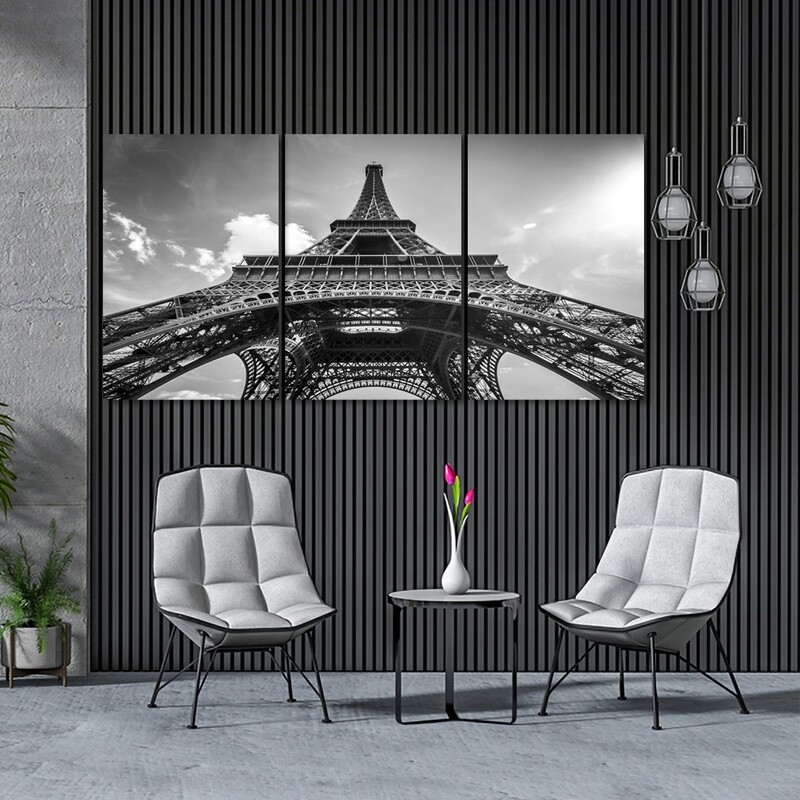 Eiffel Tower Black and White  - Modern Luxury Wall art Printed on Acrylic Glass - Frameless and Ready to Hang