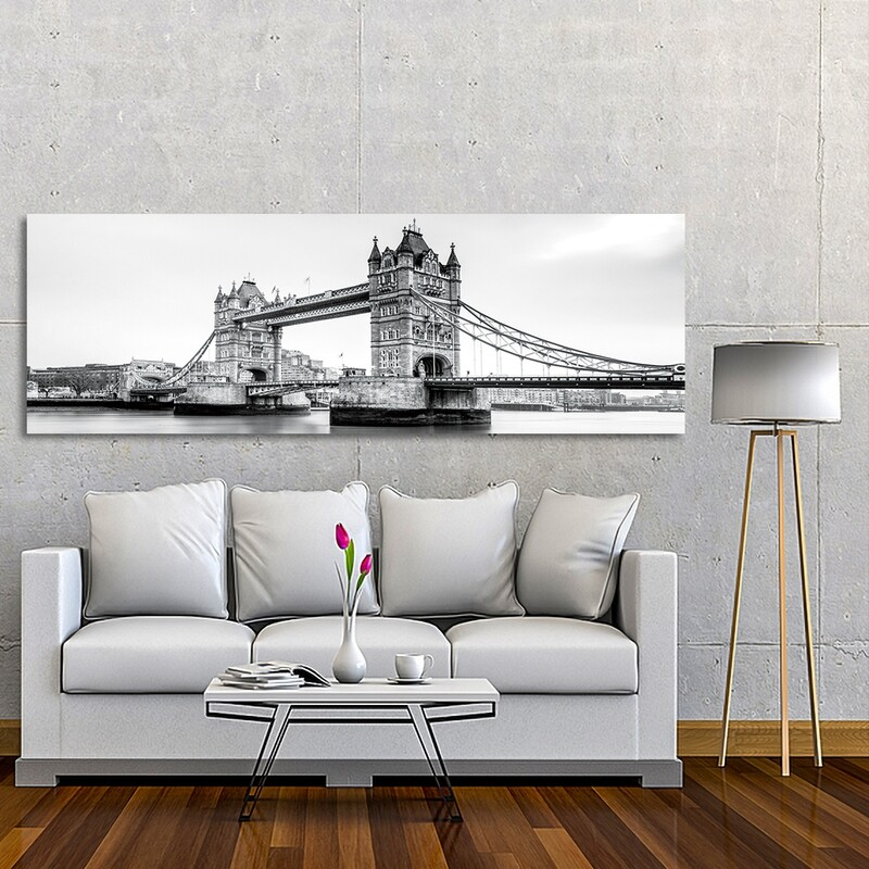 London Tower Bridge Black and white  - Modern Luxury Wall art Printed on Acrylic Glass - Frameless and Ready to Hang