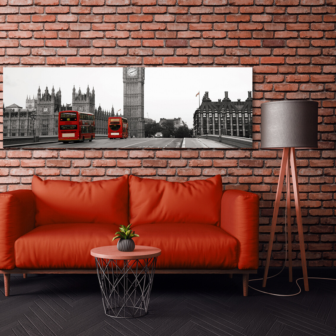 Big Ben Black and Red - Modern Luxury Wall art Printed on Acrylic Glass - Frameless and Ready to Hang