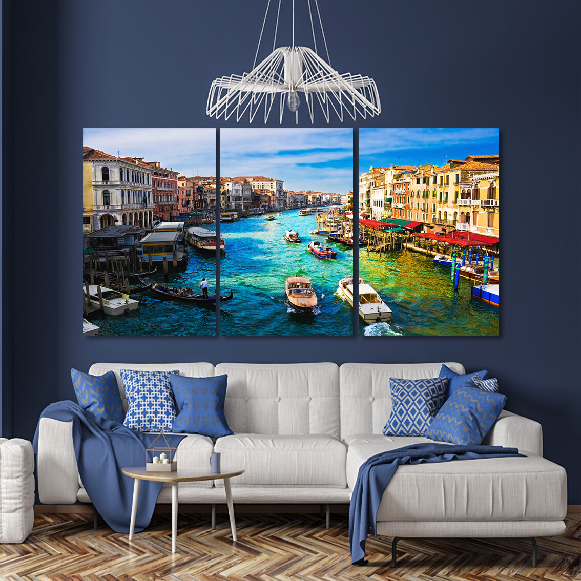 Colourful Venice (3 Panels)  - Modern Luxury Wall art Printed on Acrylic Glass - Frameless and Ready to Hang
