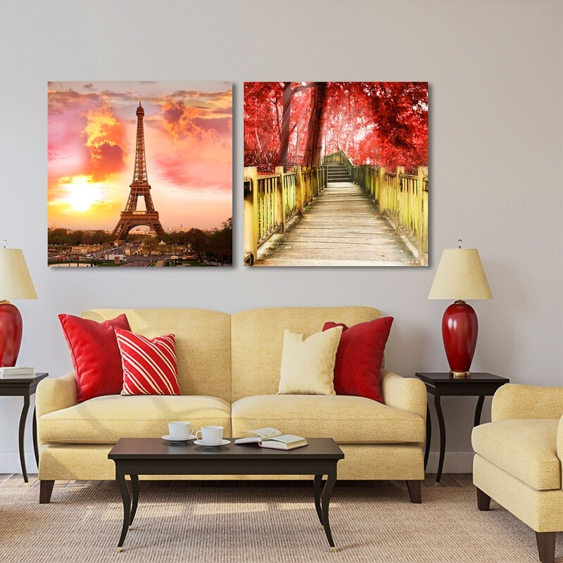 Eiffel Tower at Dusk and Chiang Mai National Park  - Modern Luxury Wall art Printed on Acrylic Glass - Frameless and Ready to Hang