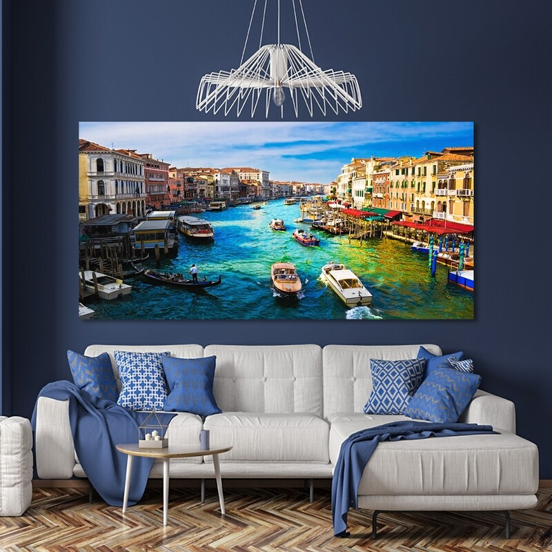 Colourful Venice  - Modern Luxury Wall art Printed on Acrylic Glass - Frameless and Ready to Hang