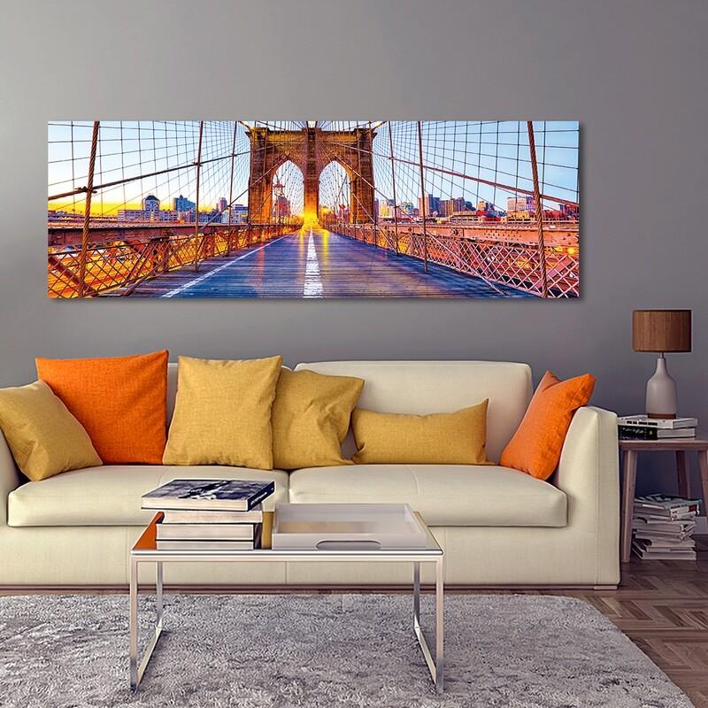 Colourful Brooklyn Bridge  - Modern Luxury Wall art Printed on Acrylic Glass - Frameless and Ready to Hang