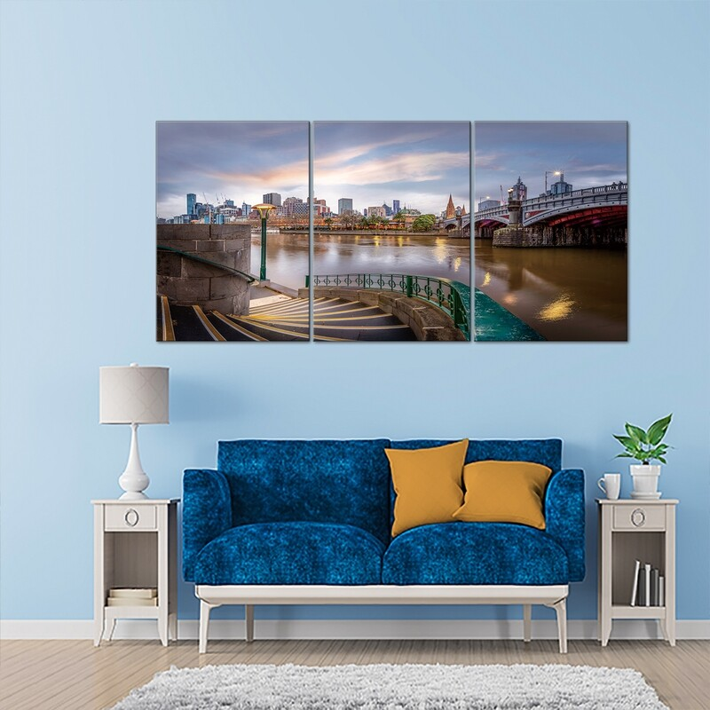 Melbourne Skyline (3 Panels)  - Modern Luxury Wall art Printed on Acrylic Glass - Frameless and Ready to Hang