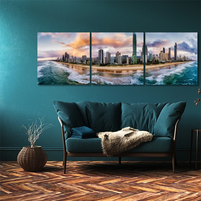 Gold Coast Aerial View (3 Panel)  - Modern Luxury Wall art Printed on Acrylic Glass - Frameless and Ready to Hang