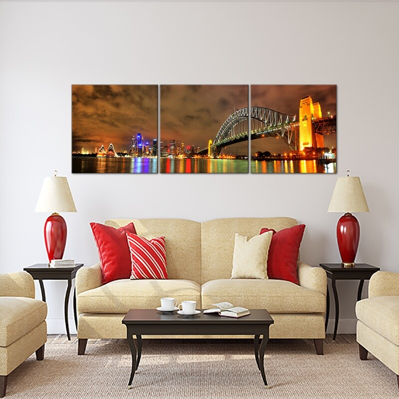 Sydney Harbour (3 panels)  - Modern Luxury Wall art Printed on Acrylic Glass - Frameless and Ready to Hang