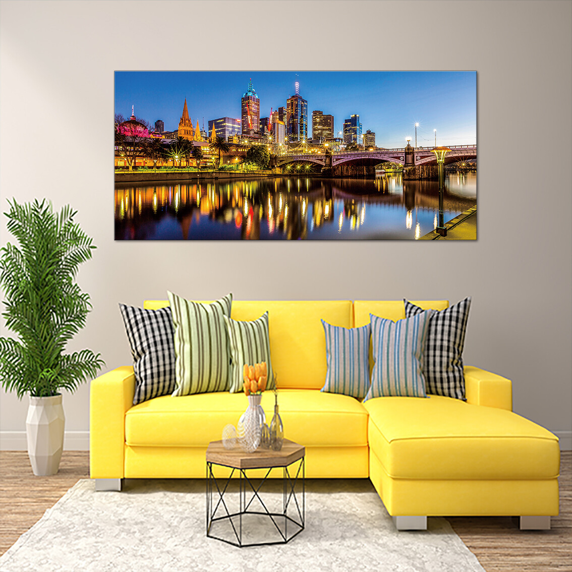 Melbourne Cityscape and Princes Bridge  - Modern Luxury Wall art Printed on Acrylic Glass - Frameless and Ready to Hang