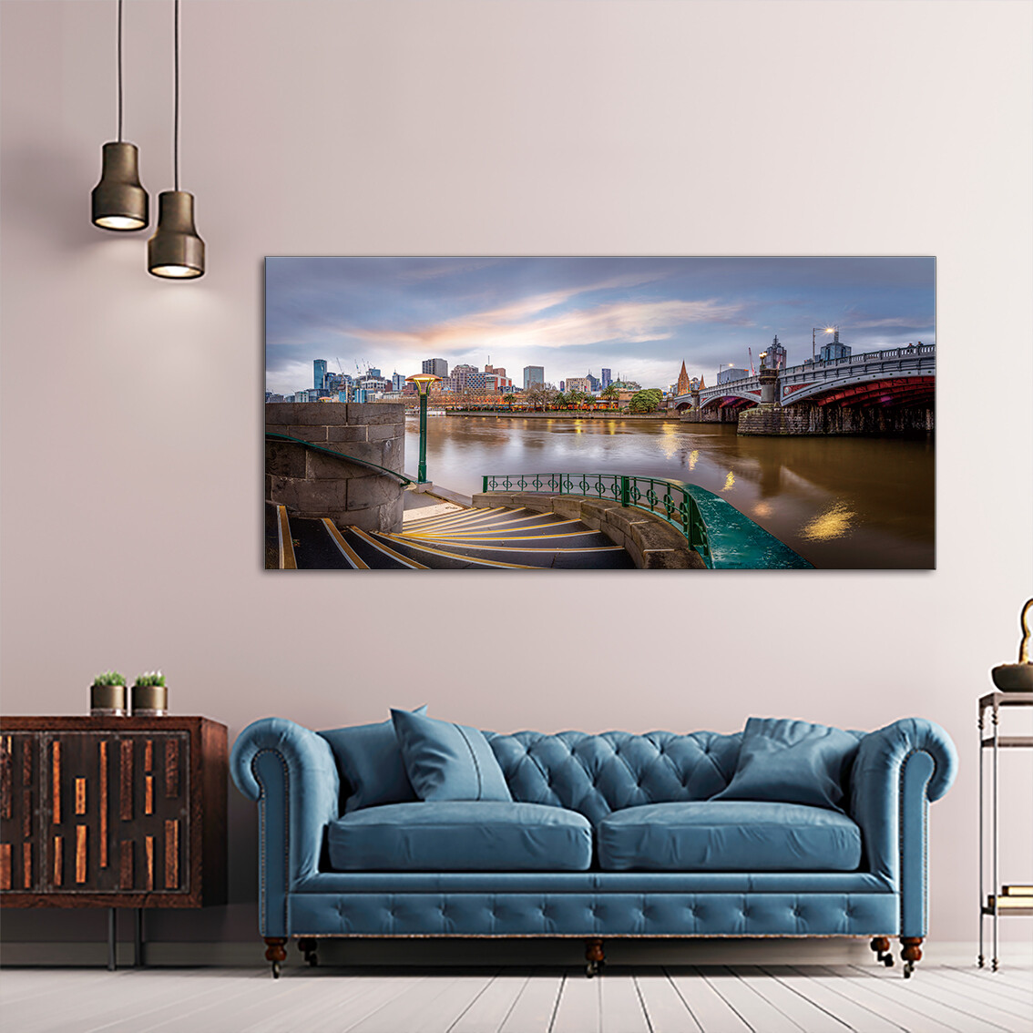 Melbourne Skyline  - Modern Luxury Wall art Printed on Acrylic Glass - Frameless and Ready to Hang