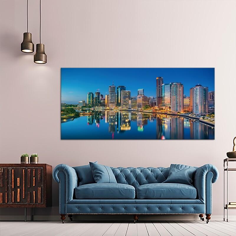 Brisbane Skyline - Modern Luxury Wall art Printed on Acrylic Glass - Frameless and Ready to Hang