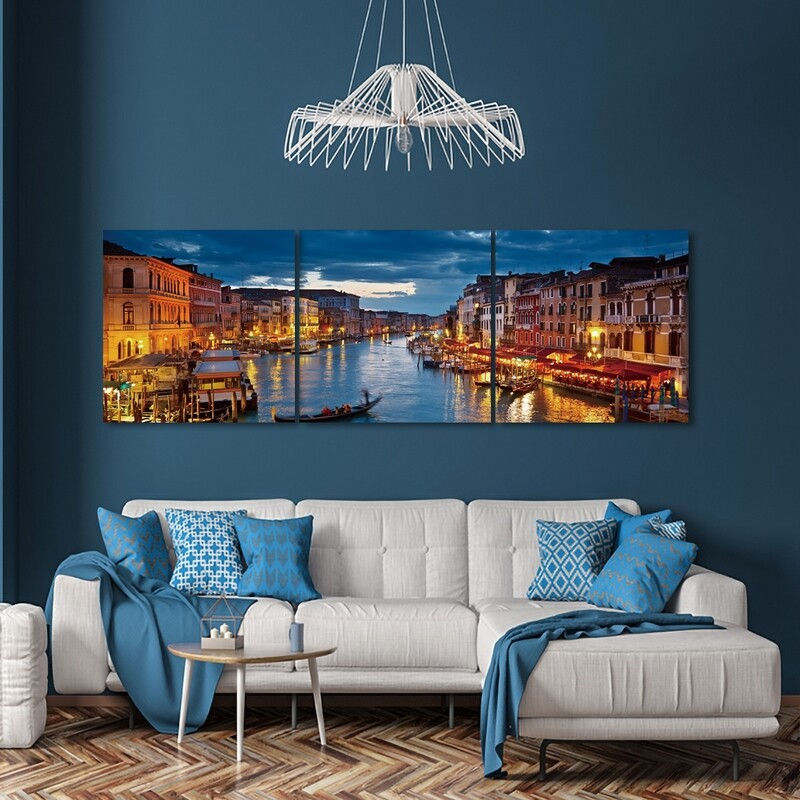 Venice Glowing at Dusk  - Modern Luxury Wall art Printed on Acrylic Glass - Frameless and Ready to Hang