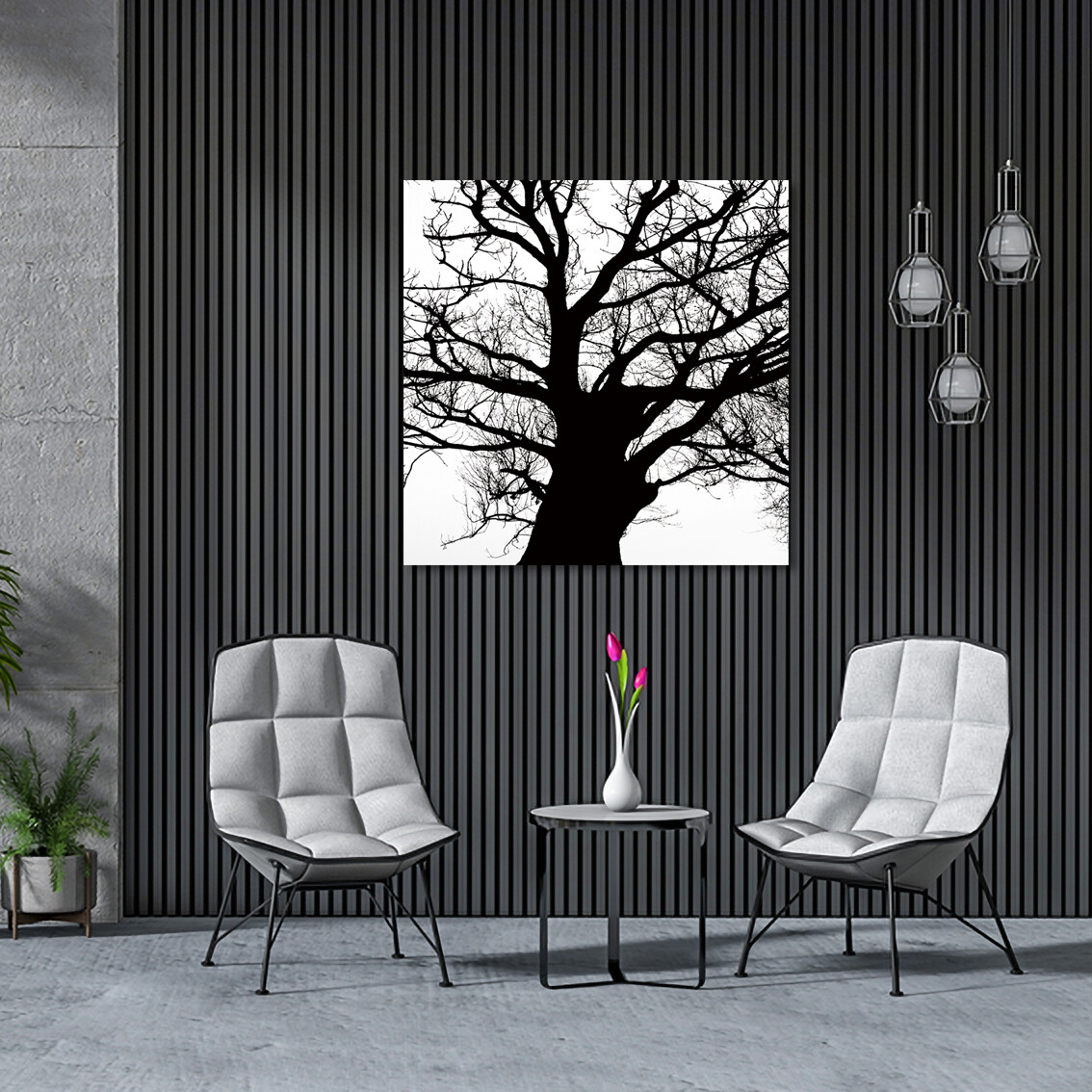 Looking Up Tree Black and White  - Modern Luxury Wall art Printed on Acrylic Glass - Frameless and Ready to Hang
