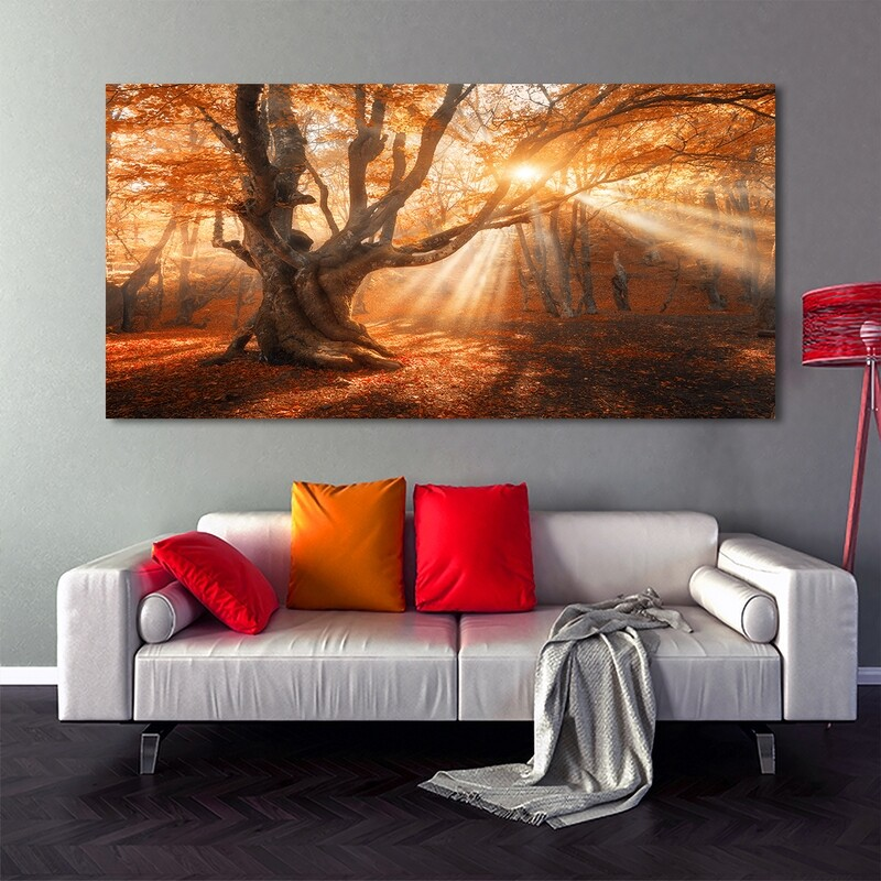 Autumn Forest Photo Printed on Frameless Acrylic Glass | With Aluminium Backing Frame Ready to Hang