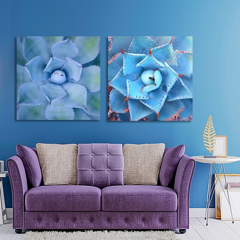 Agave Leaves Blue | Printed on Frameless Acrylic Glass | With Aluminium Backing Frame Ready to Hang