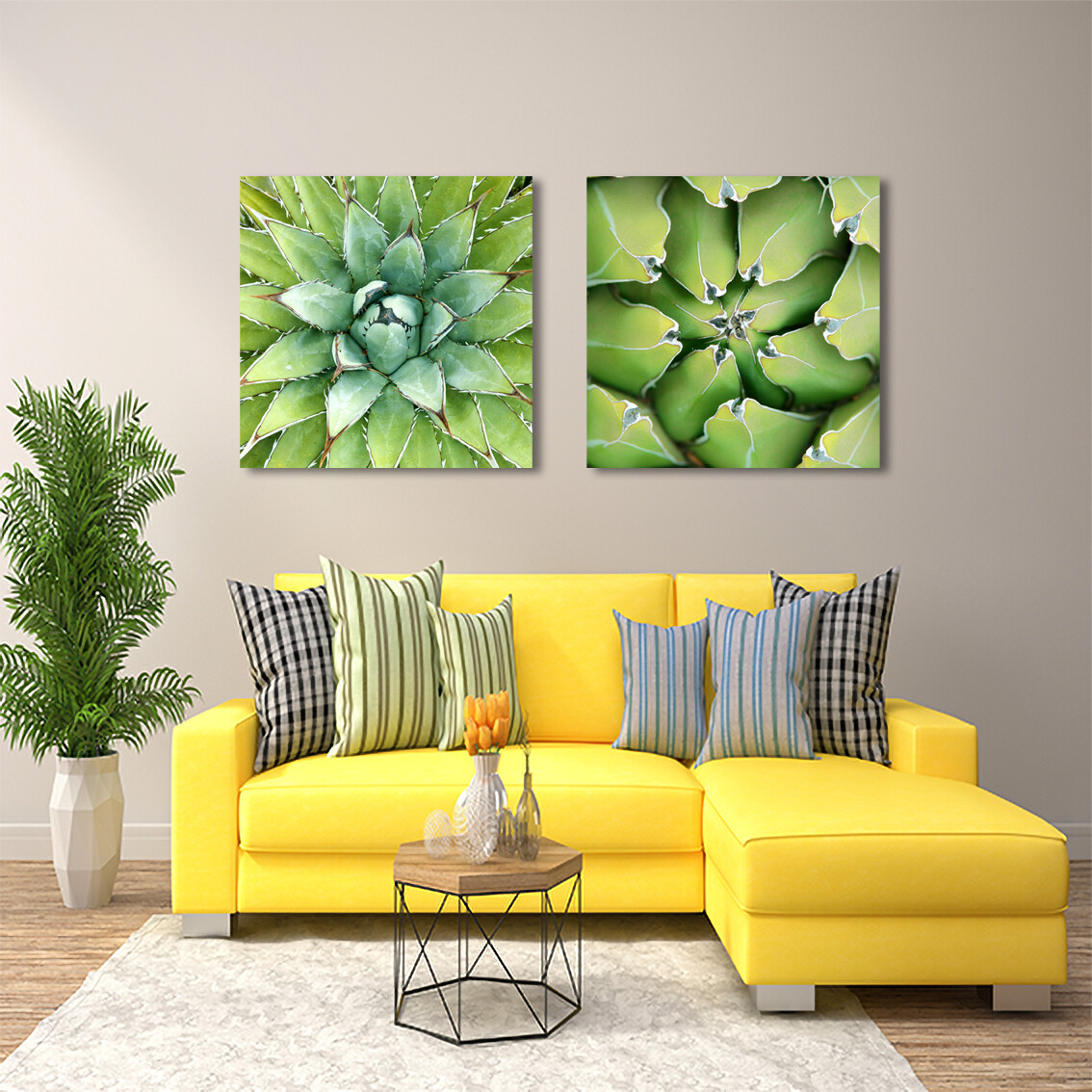 Agave Leaves Green | Printed on Frameless Acrylic Glass | With Aluminium Backing Frame Ready to Hang