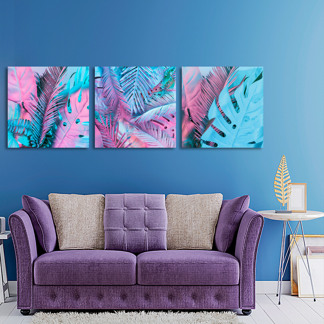 Palm Leaves  - Modern Luxury Wall art Printed on Acrylic Glass - Frameless and Ready to Hang