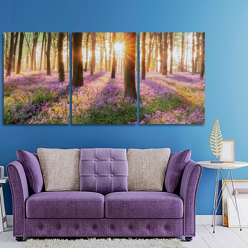 Woodland Bluebell Forest  - Modern Luxury Wall art Printed on Acrylic Glass - Frameless and Ready to Hang