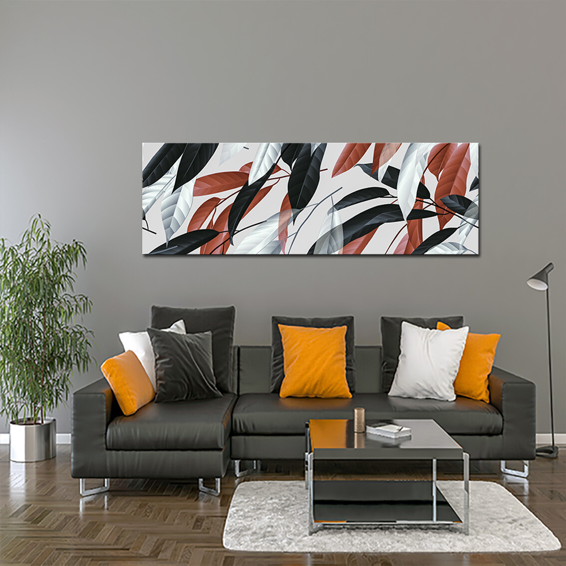 Leaves Panoramic Art  - Modern Luxury Wall art Printed on Acrylic Glass - Frameless and Ready to Hang