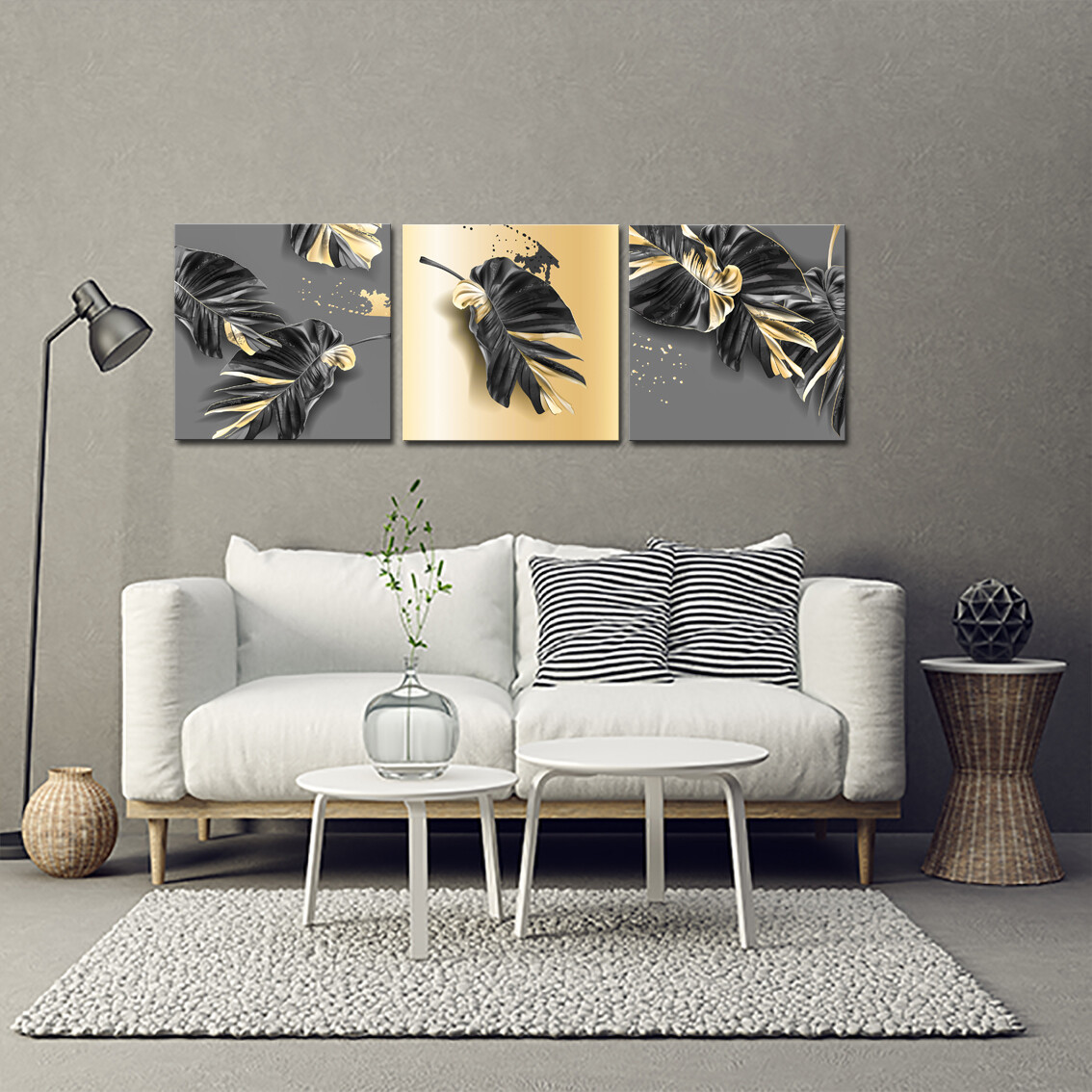 Tropical Leaves Black and Gold