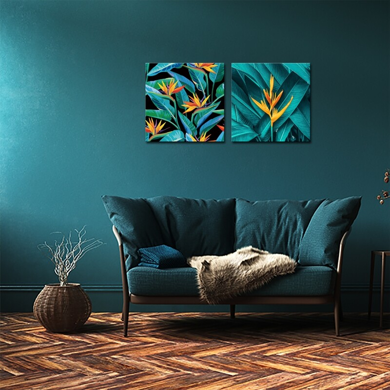 Jungle Leaves  - Modern Luxury Wall art Printed on Acrylic Glass - Frameless and Ready to Hang