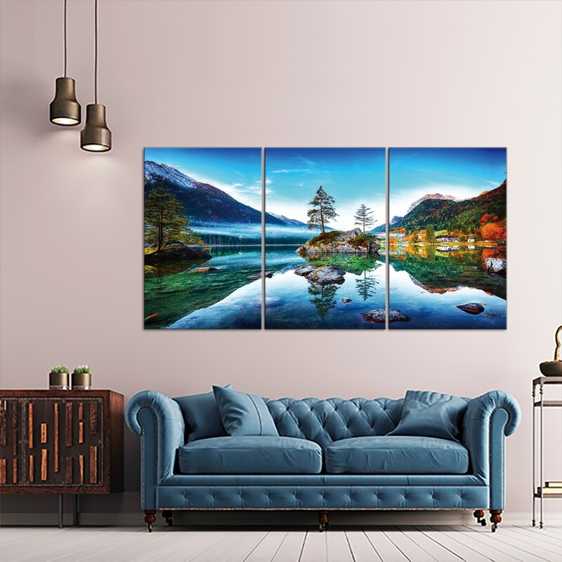 Hintersee Lake Austria (3 Panels Large)  - Modern Luxury Wall art Printed on Acrylic Glass - Frameless and Ready to Hang