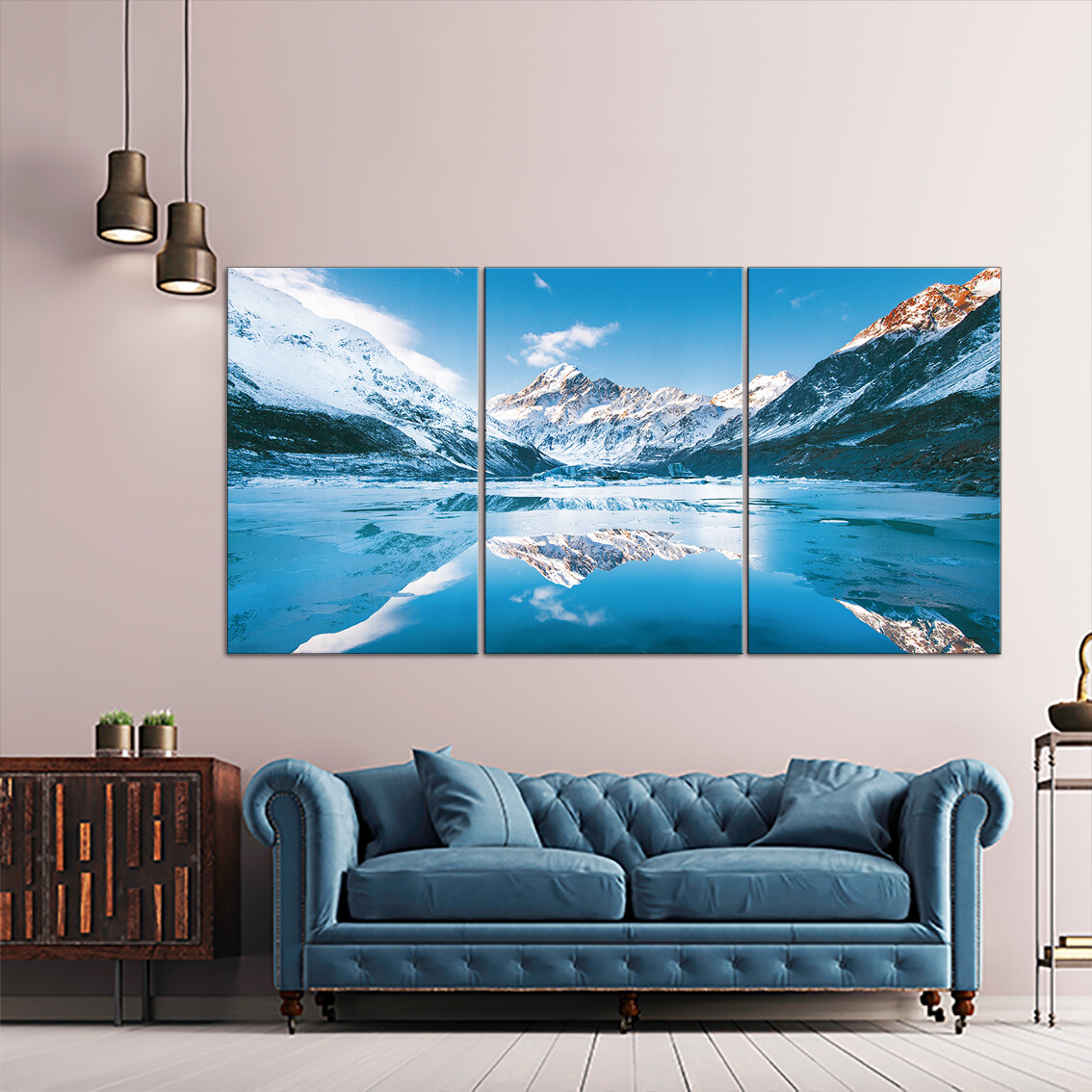 Hooker Lake , New Zealand  - Modern Luxury Wall art Printed on Acrylic Glass - Frameless and Ready to Hang