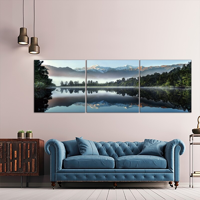 Mirror Lake (3 Panels)  - Modern Luxury Wall art Printed on Acrylic Glass - Frameless and Ready to Hang