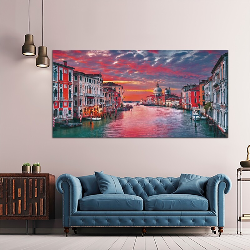 River Walk, Venice  - Modern Luxury Wall art Printed on Acrylic Glass - Frameless and Ready to Hang