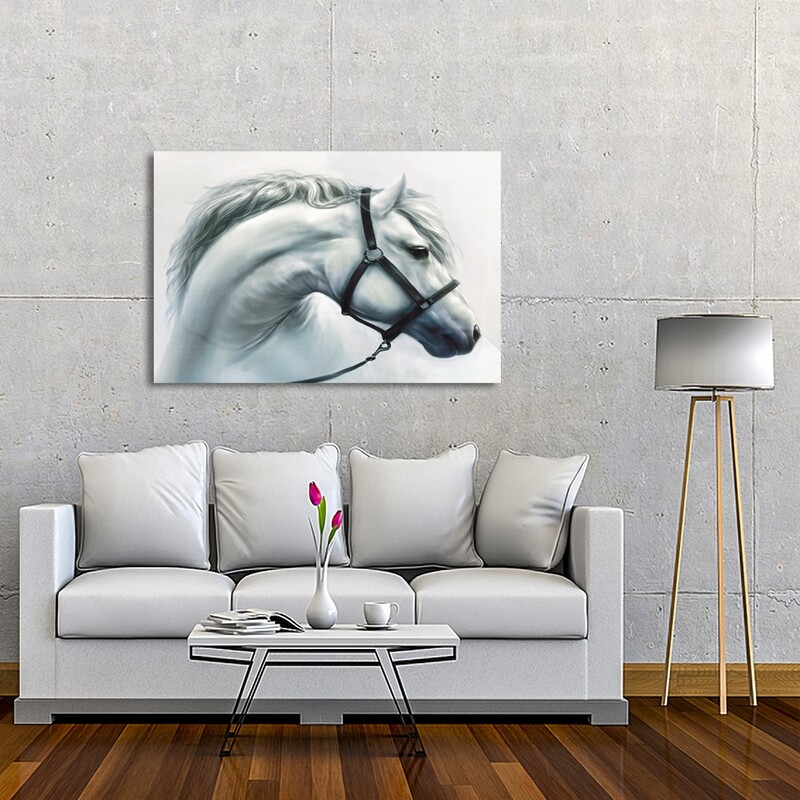 White Stallion  - Modern Luxury Wall art Printed on Acrylic Glass - Frameless and Ready to Hang