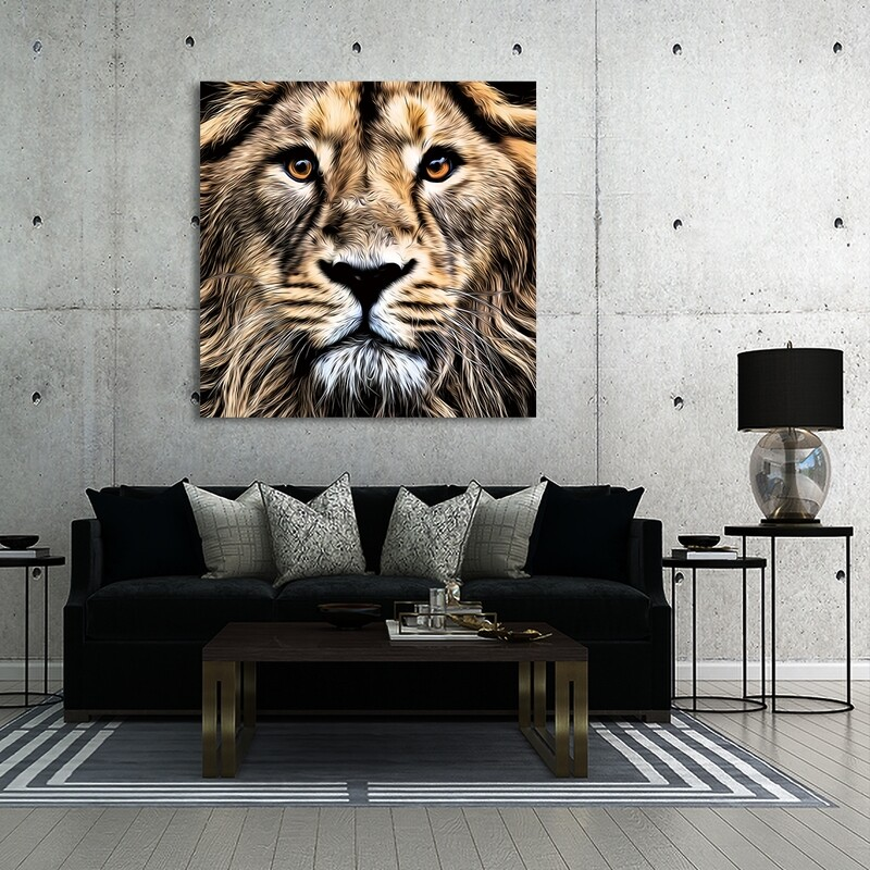 The Lion  - Modern Luxury Wall art Printed on Acrylic Glass - Frameless and Ready to Hang