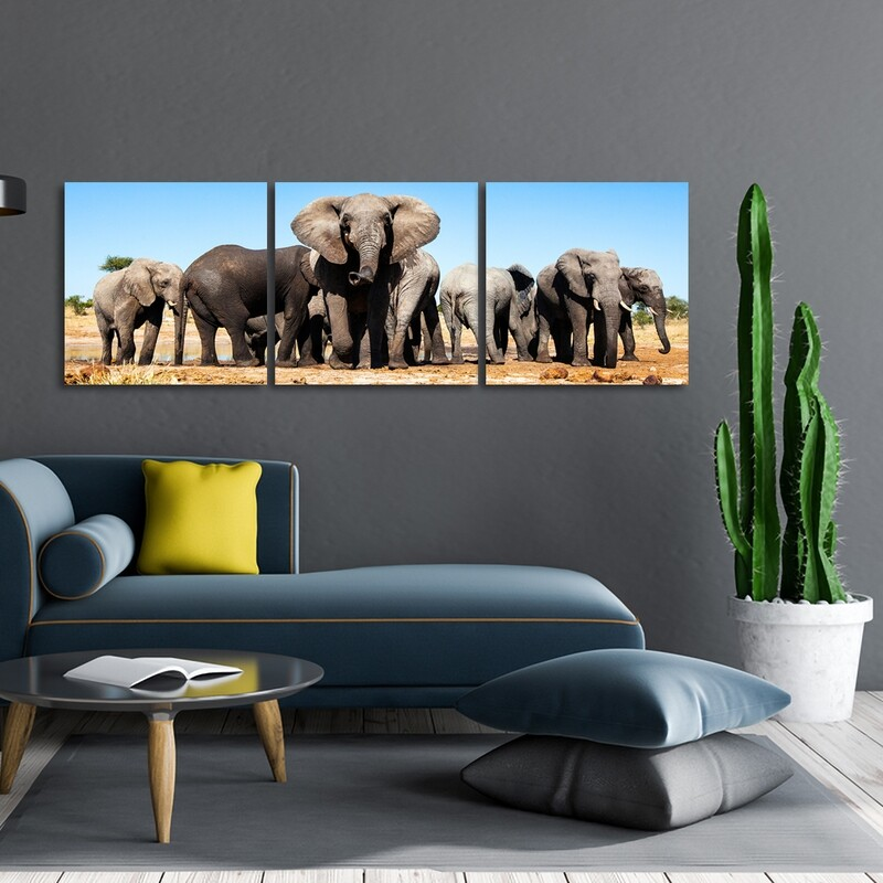 African Elephants  (3 Panels) - Modern Luxury Acrylic Glass Wall art - Frameless and Ready to Hang