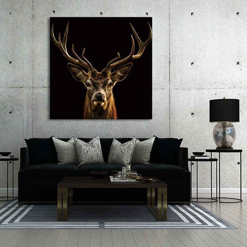 Red Deer  - Modern Luxury Wall art Printed on Acrylic Glass - Frameless and Ready to Hang