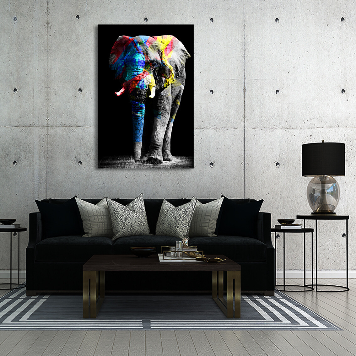 Colourful Elephant  - Modern Luxury Wall art Printed on Acrylic Glass - Frameless and Ready to Hang
