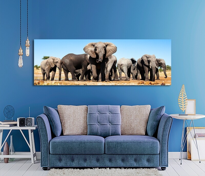 African Elephants  Picture Printed on Frameless Acrylic Glass - Modern Luxury Acrylic Glass Wall art - Frameless and Ready to Hang