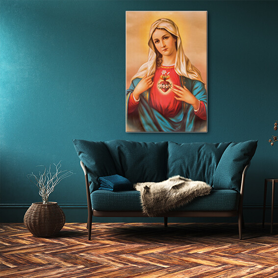 Virgin Mother Mary (Framed Picture 60x40cm)  - Modern Luxury Wall art Printed on Acrylic Glass - Framed and Ready to Hang