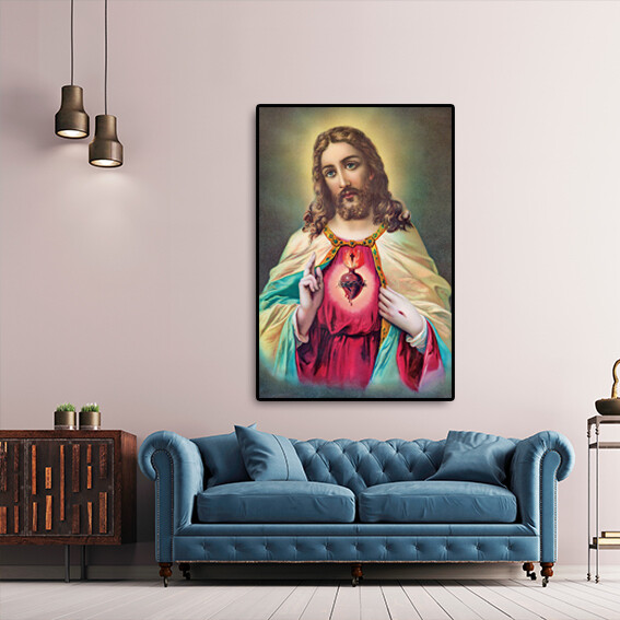 The Heart Of Jesus Christ (Framed Picture)  - Modern Luxury Wall art Printed on Acrylic Glass - Frameless and Ready to Hang