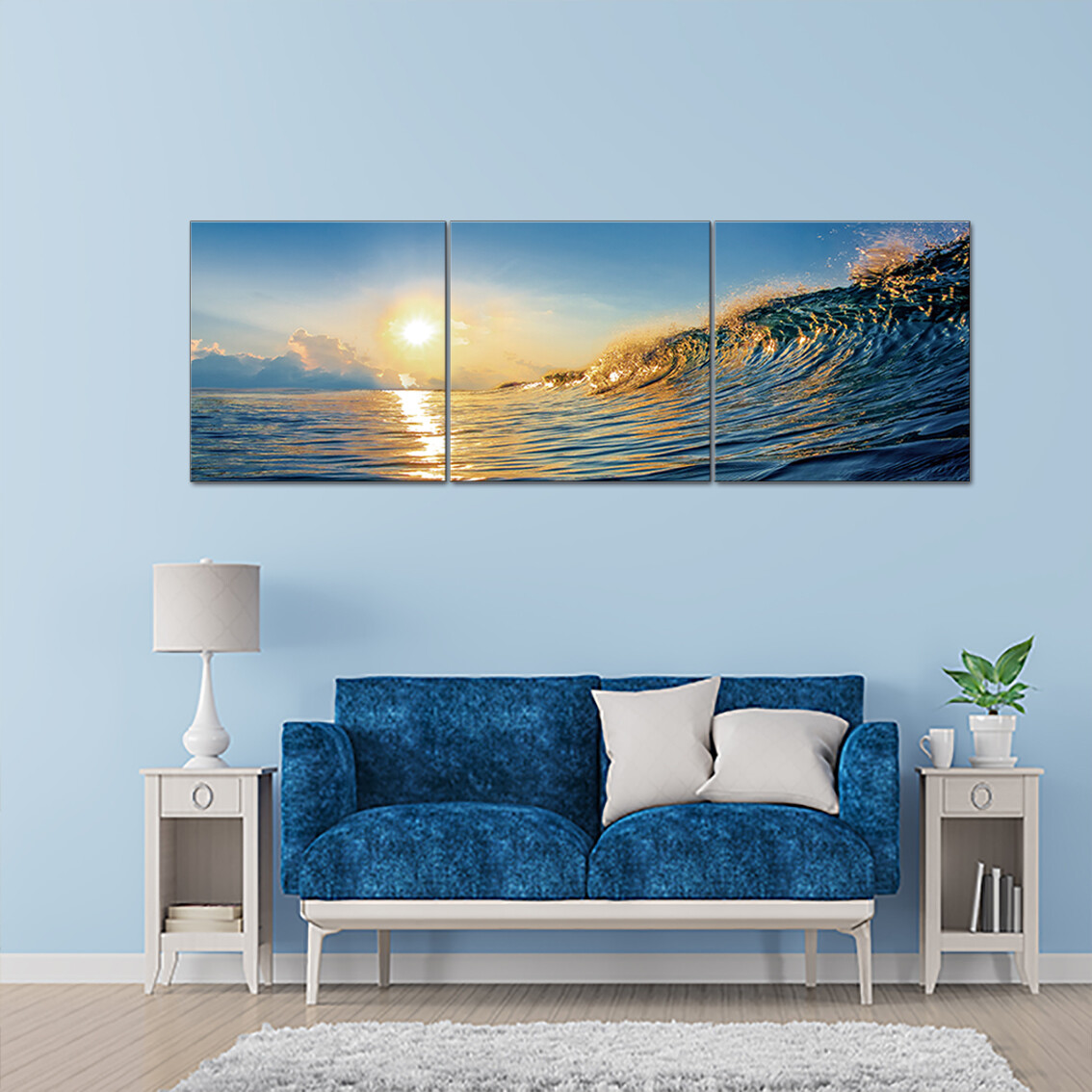 Wave In Motion (3 Panels)  - Modern Luxury Wall art Printed on Acrylic Glass - Frameless and Ready to Hang