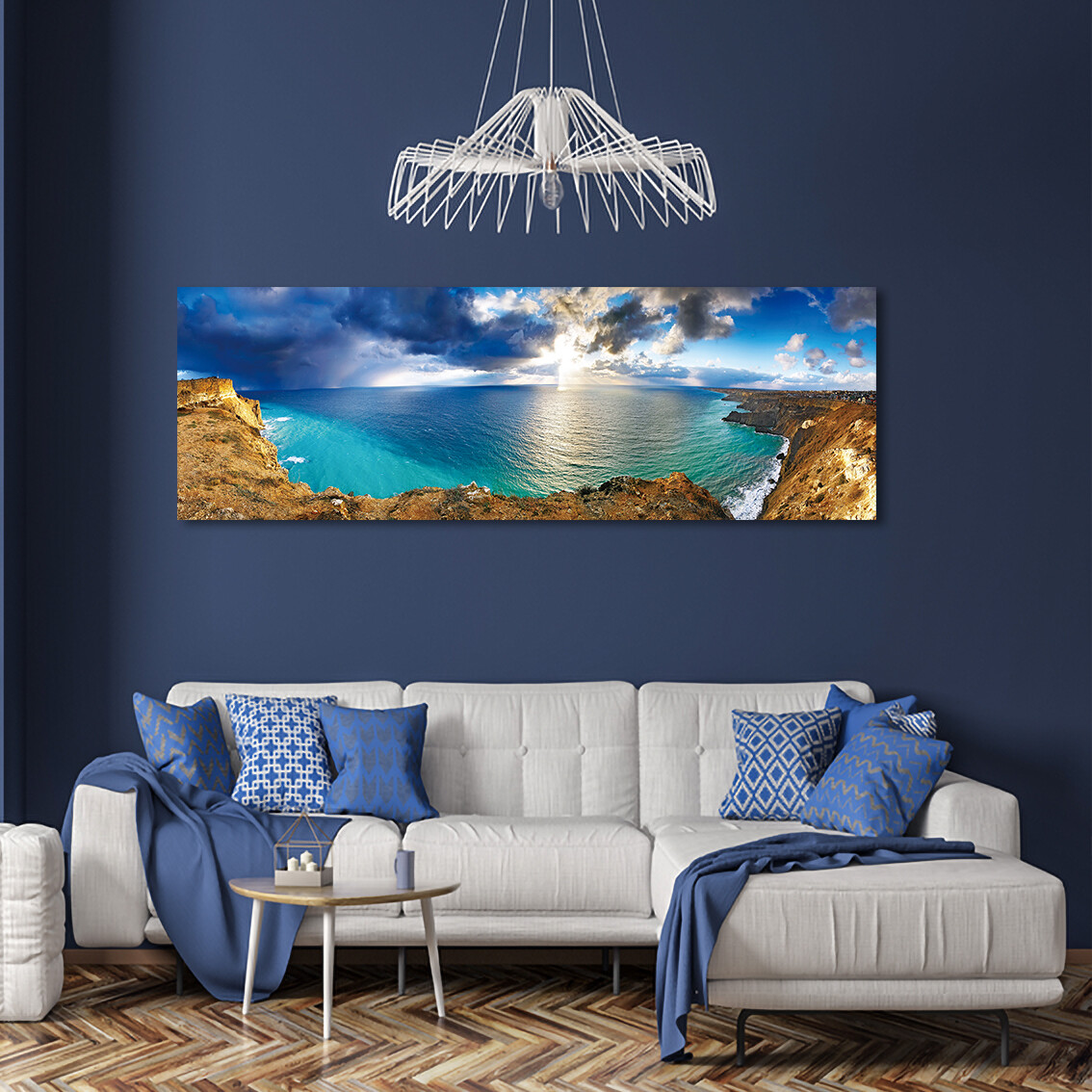 Blue Ocean - Modern Luxury Wall art Printed on Acrylic Glass - Frameless and Ready to Hang