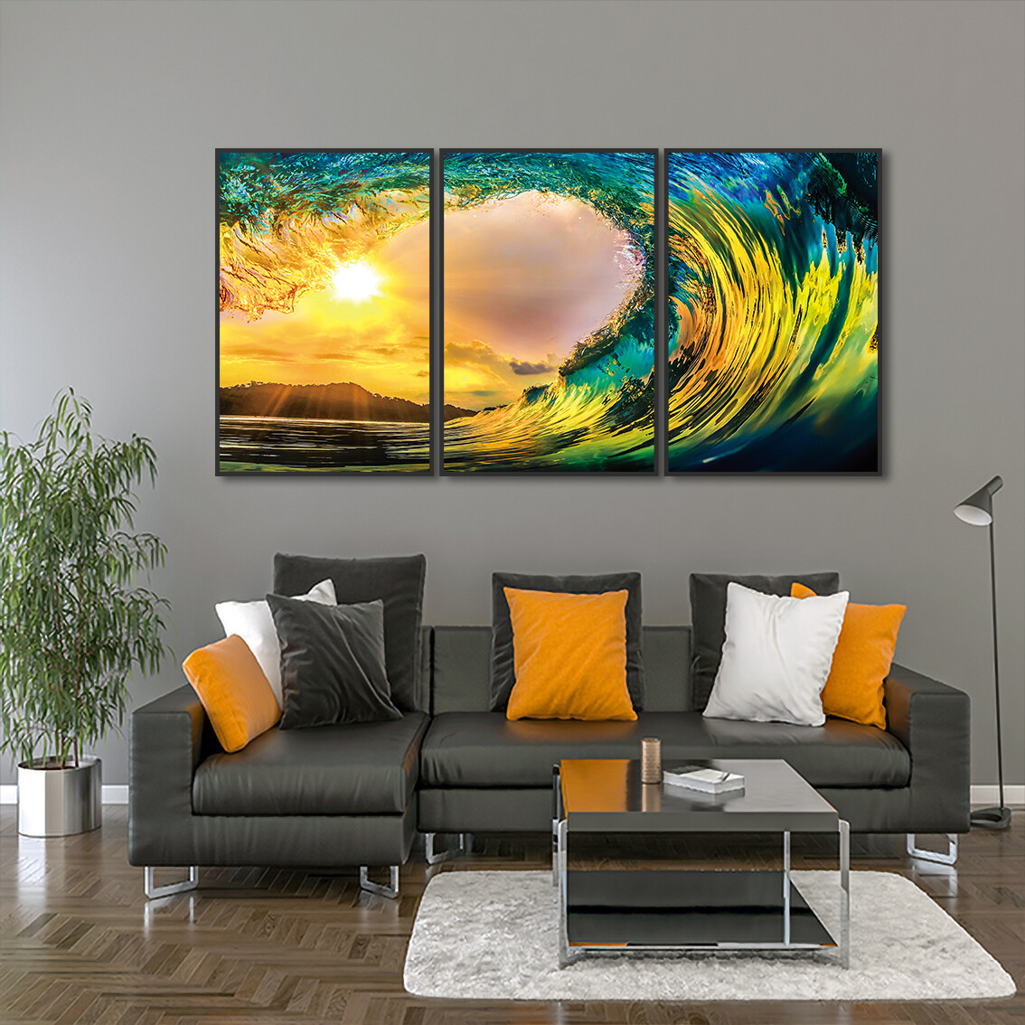 Tropical Sunset ( Framed )  - Modern Luxury Wall art Printed on Acrylic Glass - Framed and Ready to Hang