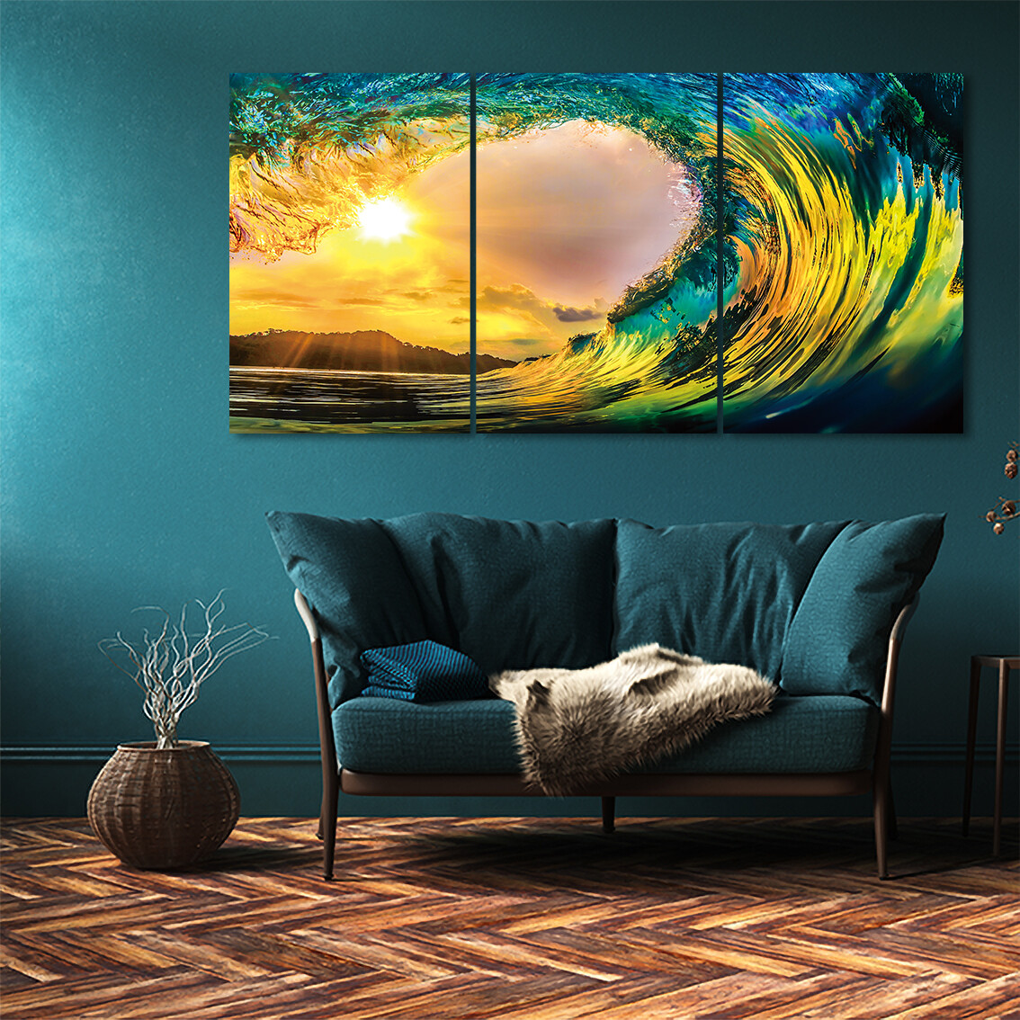 Tropical Sunset and Ocean Waves (3 Panels)  - Modern Luxury Wall art Printed on Acrylic Glass - Frameless and Ready to Hang