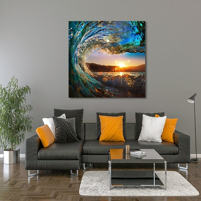 Ocean Wave  - Modern Luxury Wall art Printed on Acrylic Glass - Frameless and Ready to Hang