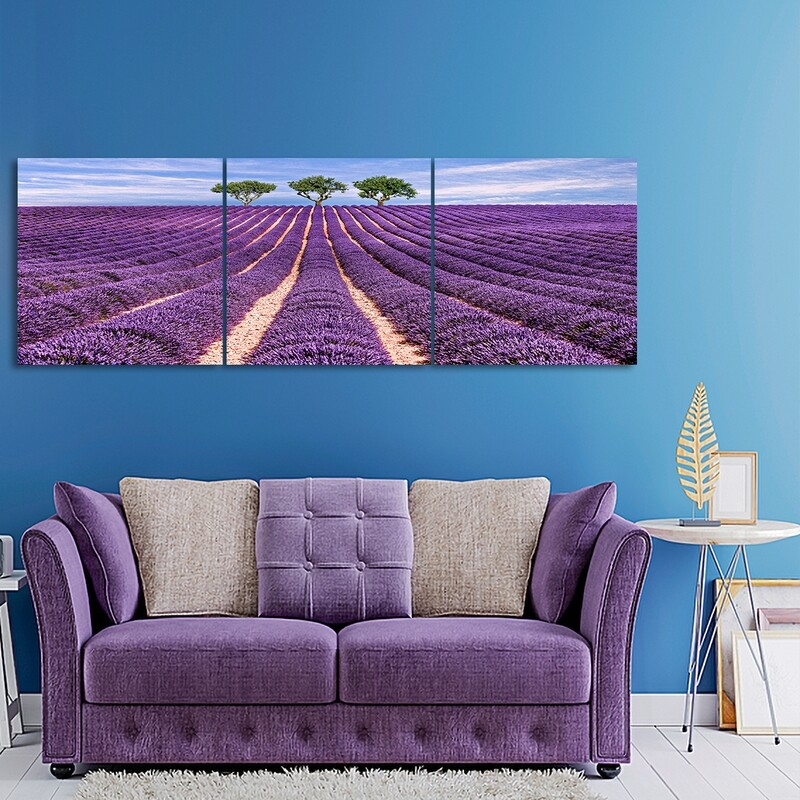 Lavender field (3 Panels)  - Modern Luxury Wall art Printed on Acrylic Glass - Frameless and Ready to Hang